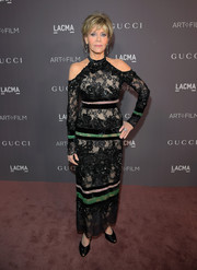 Jane Fonda went for modern elegance in a black and green cold-shoulder lace dress by Elie Saab at the 2017 LACMA Art + Film Gala.