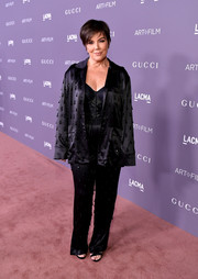 Kris Jenner was pajama-glam in this embellished satin jacket and pants combo at the 2017 LACMA Art + Film Gala.