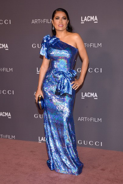 Salma Hayek in a shimmering sequined look