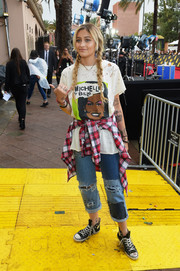 Paris Jackson pulled her casual look together with a pair of Converse sneakers.