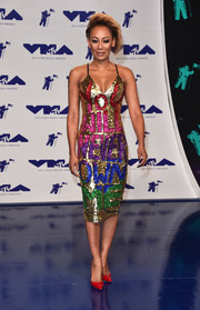 Melanie Brown went bold with this 'You Will Never Own Me' sequin dress by Di$count Universe at the 2017 MTV VMAs.