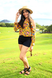Freida Pinto oozed summer charm wearing this floral cold-shoulder blouse by Tanya Taylor at the 2017 Maui Film Festival.