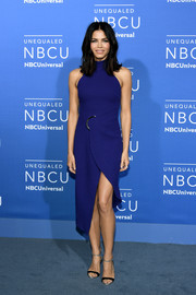 Jenna Dewan-Tatum polished off her look with a pair of black and silver ankle-strap sandals by Giuseppe Zanotti.