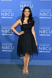 Auli'i Cravalho polished off her look with gold ankle-strap sandals.
