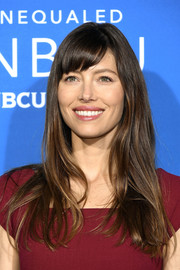 Jessica Biel opted for a loose hairstyle with side-swept bangs when she attended the 2017 NBCUniversal Upfront.