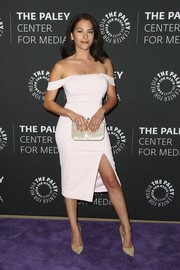 Inbar Lavi cut a shapely silhouette in a fitted white off-the-shoulder dress at the PaleyLive screening of 'Prison Break.'