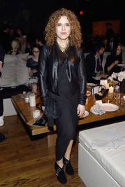Bernadette Peters attended the 2017 Stephan Weiss Apple Awards wearing a black leather jacket over a matching dress.