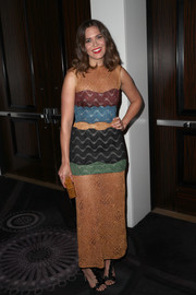Mandy Moore finished off her look with bowed T-strap sandals by Olgana Paris.