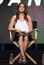 Danica Patrick kept it minimal in a white tank top and a black pencil skirt at the 2017 Summer TCA Tour.