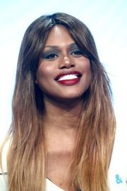 Laverne Cox wore her hair down in a straight, ombre style at the 2017 Summer TCA Tour.