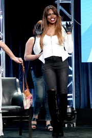 Laverne Cox went for an ultra-edgy finish with a pair of black knee-high boots.