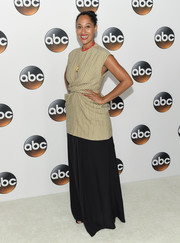 Tracee Ellis Ross paired her top with a flowing black skirt, also by Céline.