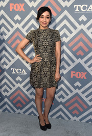 Aimee Garcia attended the 2017 Summer TCA Tour wearing an intricately embroidered mini dress.