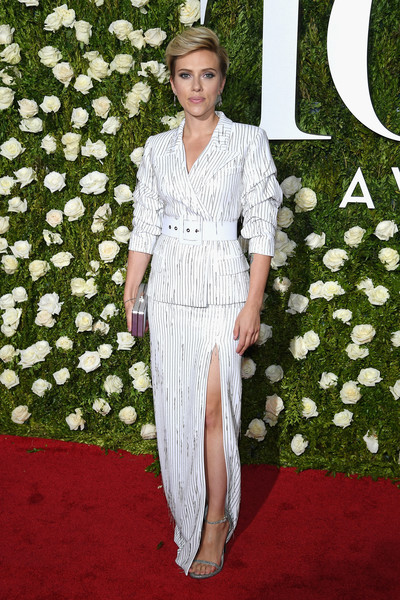 Scarlett Johansson went business-glam in a floor-length striped skirt suit by Michael Kors at the 2017 Tony Awards.