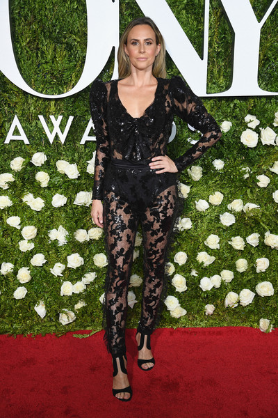 Keltie Knight brought the sheer trend to the 2017 Tonys with this black lace jumpsuit by Rodarte.