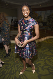 Condola Rashad looked sweet in her fit-and-flare print dress at the 2017 Tony Awards Meet the Nominees press junket.