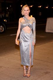 Diane Kruger amped up the shine with gold multi-strap sandals, also by Prabal Gurung.
