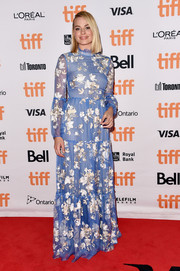 Margot Robbie went demure in a long-sleeve floral gown by Erdem at the TIFF premiere of 'I, Tonya.'