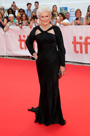 Glenn Close got glammed up in a black twist-detail fishtail gown by Zac Posen for the TIFF premiere of 'The Wife.'