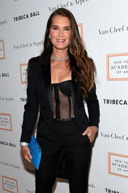 Brooke Shields looked va-va-voom in a black mesh corset top at the 2017 Tribeca Ball.