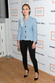 AnnaSophia Robb paired her jacket with black stirrup leggings and Jerome C. Rousseau shoes.