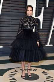 Jurnee Smollett-Bell got all dolled up in a black lace-bodice tutu dress by Con Ilio for the Vanity Fair Oscar party.