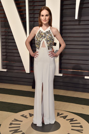 Michelle Dockery chose a Roland Mouret dress with an embellished bodice and a midriff cutout for the Vanity Fair Oscar party.