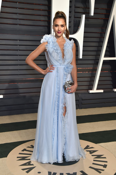 Jessica Alba in Ralph and Russo at the Vanity Fair Oscar Party