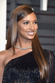 Jasmine Tookes looked like she just stepped out of a shampoo commercial with her lustrous locks during the Vanity Fair Oscar party.