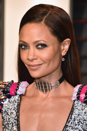 Thandie Newton went for a straight side-parted hairstyle when she attended the Vanity Fair Oscar party.