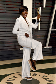 Viola Davis changed out of her Oscars gown into this comfy Stella McCartney brogues and Brandon Maxwell suit combo for the Vanity Fair after-party.