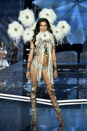 Sara Sampaio channeled her inner showgirl in silver lingerie with a fringed overlay at the 2017 Victoria's Secret fashion show.