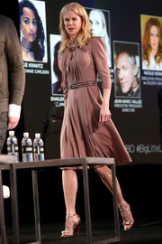 Nicole Kidman was demure and conservative in a mauve pussybow dress by Bottega Veneta at the 2017 Winter TCA Tour.
