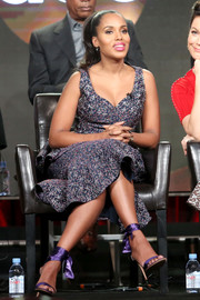 Kerry Washington coordinated her outfit with a pair of purple satin ankle-wrap sandals.