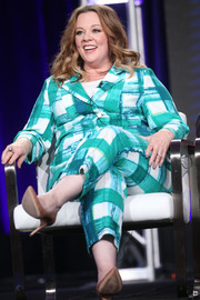 Melissa McCarthy looked cheery in a plaid pantsuit at the 2017 Winter TCA Tour.