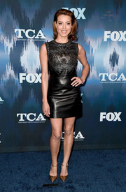 Aubrey Plaza worked a black Miu Miu leather dress with a studded bodice at the 2017 Winter TCA Tour Fox All-Star Party.