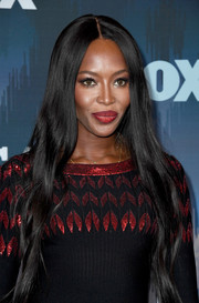 Naomi Campbell styled her long tresses with barely-there waves for the 2017 Winter TCA Tour Fox All-Star Party.