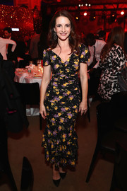 Kristin Davis kept it sweet in a ruched floral maxi dress at the 2018 A+E Upfront.