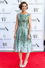 Katie Holmes went for vintage sweetness with this floral-embroidered mint-green dress by Zac Posen at the 2018 American Ballet Theatre Spring Gala.