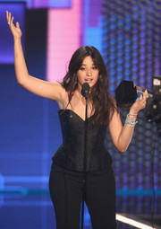 Camila Cabello punctuated her black outfit with some diamond bracelets by Bulgari at the 2018 American Music Awards.