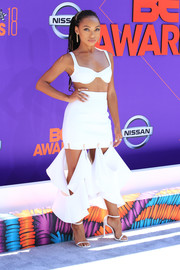 Logan Browning ditched the shirt for this white Dion Lee bra when she attended the 2018 BET Awards.