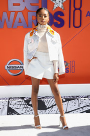 Skai Jackson looked cool in a white Emilio Pucci short suit with an embellished collar at the 2018 BET Awards.