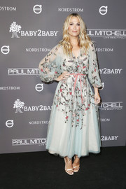 Molly Sims looked darling in a beaded baby-blue dress by Marchesa at the 2018 Baby2Baby Gala.