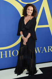 Diane von Furstenberg was diva-glam in a tasseled black wrap gown at the 2018 CFDA Fashion Awards.