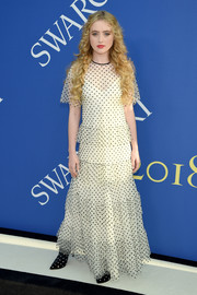 Kathryn Newton was a boho cutie in a dotted maxi dress by RED Valentino at the 2018 CFDA Fashion Awards.