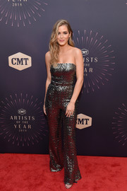 JoJo Fletcher sparkled in a strapless sequined jumpsuit by Alexis at the 2018 CMT Artists of the Year event.
