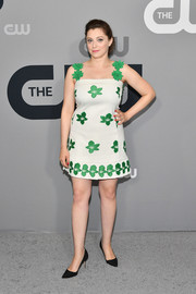 Rachel Bloom looked fetching in a white mini dress with green floral embroidery at the 2018 CW Network Upfront.