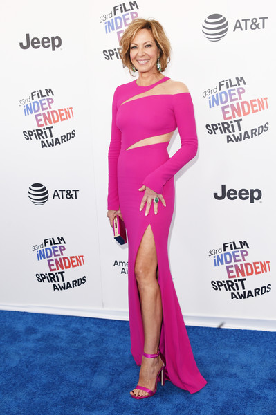 Allison Janney matched her dress with a pair of hot-pink satin sandals.