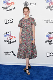 Maya Hawke went the girly route in a floral midi dress at the 2018 Film Independent Spirit Awards.