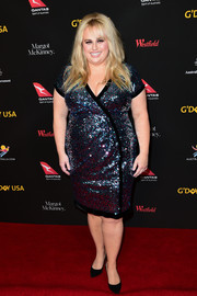 Rebel Wilson went for major sparkle in a sequined wrap dress at the 2018 G'Day USA Black Tie Gala.